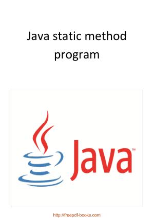 Java Static Method Program