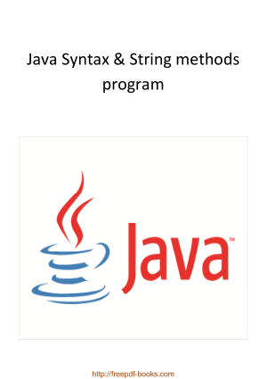 Java Syntax And String Methods Program, Java Programming Tutorial Book