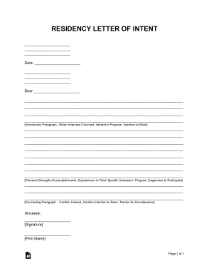 Free Download PDF Books, Residency Letter of Intent Sample Letter Template