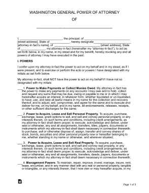 Free Download PDF Books, Washington General Power Of Attorney Form Template