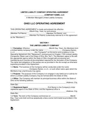 Free Download PDF Books, Ohio Multi Member LLC Operating Agreement Form Template