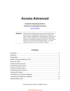 Access Advanced Book, MS Access Tutorial