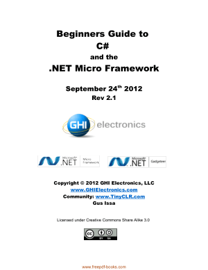Beginners Guide To C-Sharp And The Net Micro Framework, Pdf Free Download