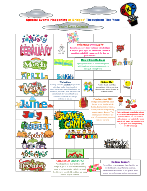 Free PDF Books, Special Event Yearly Calendar Template