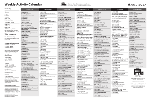 Free PDF Books, 2017 Weekly Activity Calendar Template