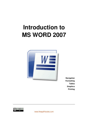 Free Download PDF Books, Introduction To Ms Word 2007