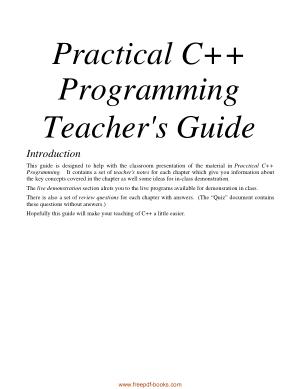 Practical C++ Programming Teacher Guide