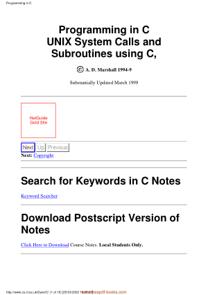 Programming In C Unix System Calls And Subroutines Using C