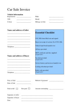Free PDF Books, Blank Car Sales Template
