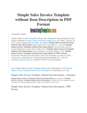 Free PDF Books, Simple Sales Invoice Template