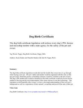 Free PDF Books, Sample Dog Birth Certificate Template