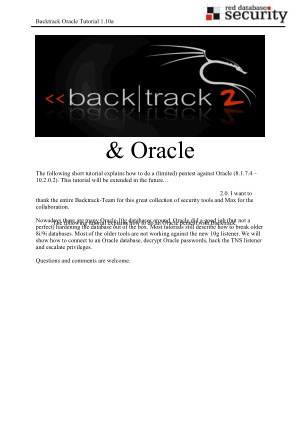 Backtrack Oracle Tutorial Book