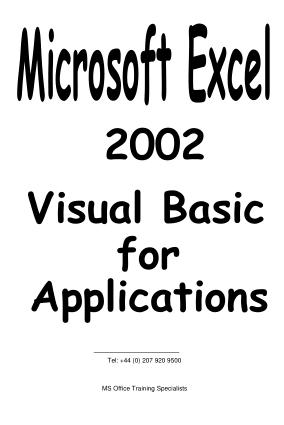 Microsoft Excel 2002 Vba