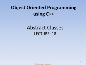 Free Download PDF Books, Object Oriented Programming Using C++ Abstract Classes – C++ Lecture 18