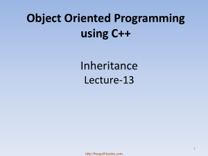 Free Download PDF Books, Object Oriented Programming Using C++ Inheritance – C++ Lecture 13