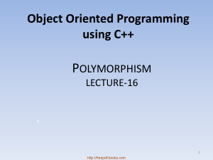 Object Oriented Programming Using C++ Polymorphism – C++ Lecture 16