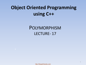 Object Oriented Programming Using C++ Polymorphism – C++ Lecture 17