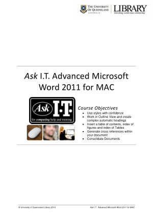 Advanced Microsoft Word 2011 For Mac