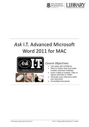 Free Download PDF Books, Advanced Microsoft Word 2011 For Mac