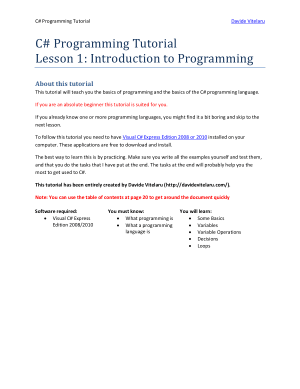 C# Programming Tutorial Lesson 1 – Introduction To Programming