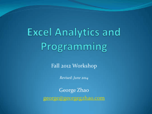 Excel Analytics And Programming