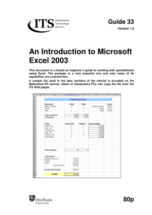 Free Download PDF Books, Introduction To Microsoft Excel 2003
