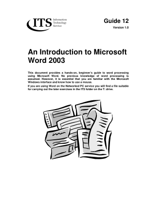 Free Download PDF Books, Introduction To Microsoft Word 2003