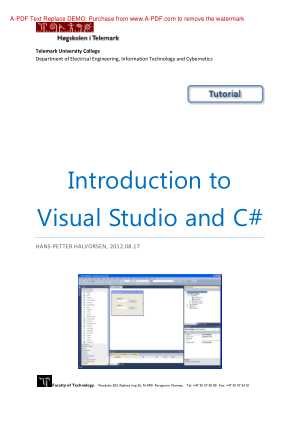Free Download PDF Books, Introduction To Visual Studio And C#