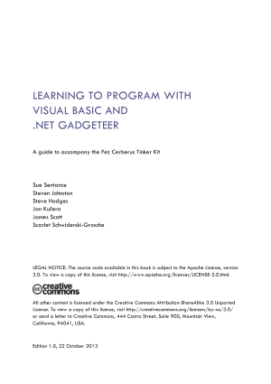 Learning To Program  With Visual Basic And .Net Gadgeteer, Learning Free Tutorial Book