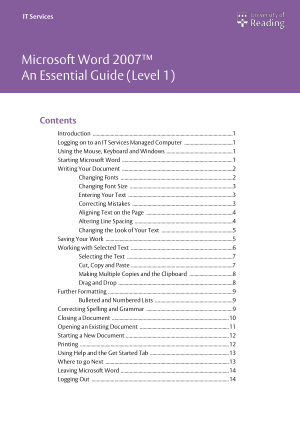 Microsoft Word 2007 Essential Guide