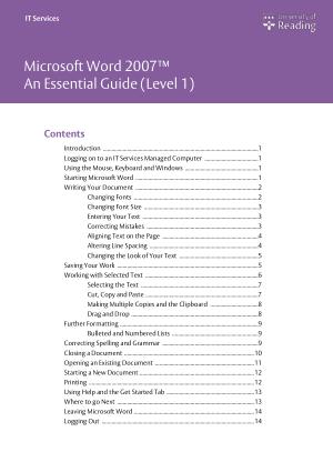 Free Download PDF Books, Microsoft Word 2007 Essential Guide