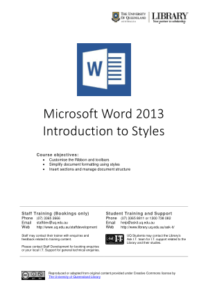 Free Download PDF Books, Microsoft Word 2013 Introduction To Styles