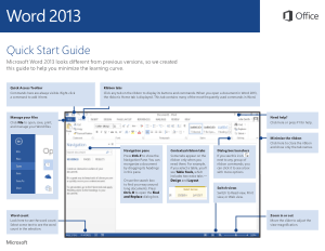 Microsoft Word 2013 Quick Start Guide
