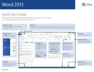 Free Download PDF Books, Microsoft Word 2013 Quick Start Guide