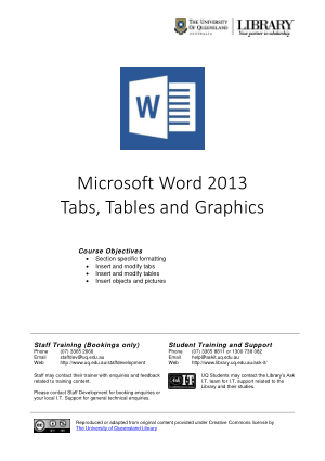 Microsoft Word 2013 Tabs Tables And Graphics