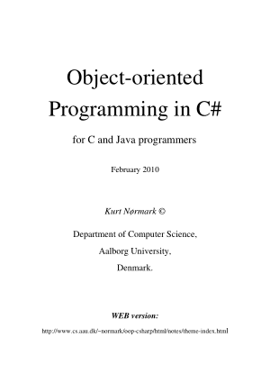 Object Oriented Programming In C# For C And Java Programmers
