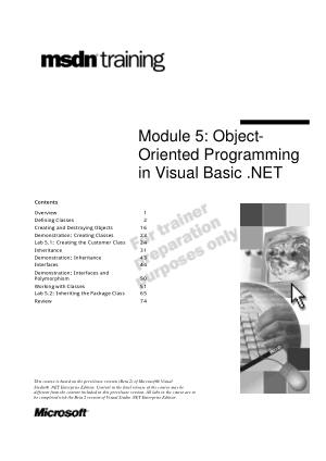 Object Oriented Programming In Visual Basic .Net Module 5