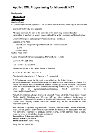 Applied XML Programming for Microsoft .NET, Pdf Free Download