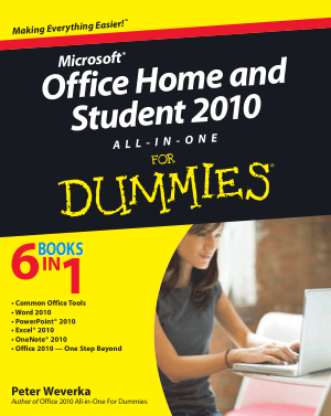 Free Download PDF Books, Microsoft Office Home And Student 2010 All In One For Dummies