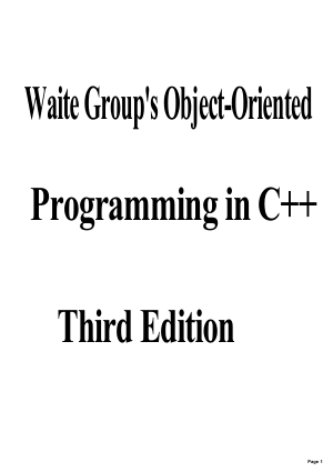 Free Download PDF Books, Object Oriented Programming In C++ Third Edition