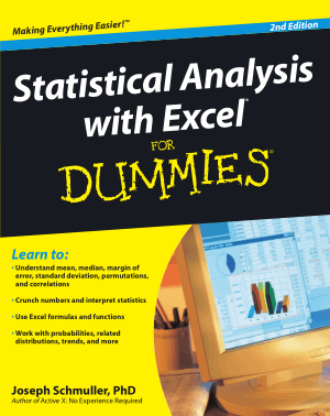 Statistical Analysis With Excel For Dummies 2nd Edition Book, Excel Formulas Tutorial