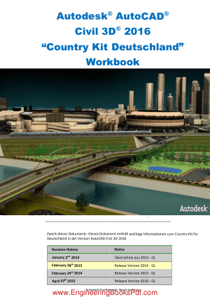 Autodesk AutoCAD Civil 3D 2016 Country Kit Deutschland Workbook