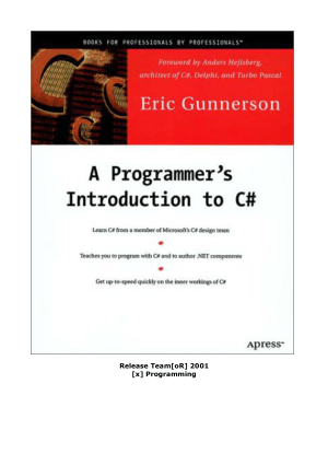 A Programmer Introduction to C# –, Free Ebooks Online