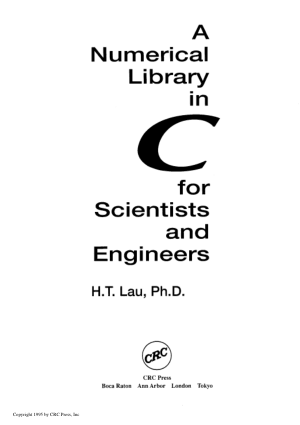 A Numerical Library in C for Scientists and Engineers –, Free Ebook Download Pdf